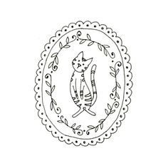 Cat Embroidery Pattern Kitty Digital Downloadable 0024