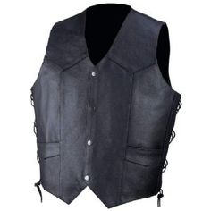 Rocky Mountain Hides, Side Lace Pebble Grain Cowhide Leather Mens Motorcycle Vest is perfect for the classic motorcyclist or biker that comes in a solid black color, is made of genuine cowhide leather having 4 front black snaps in a pebble grain leather design for a stylish look.