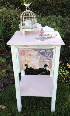 Shabby Chic telephone stand with decoupaged paper...