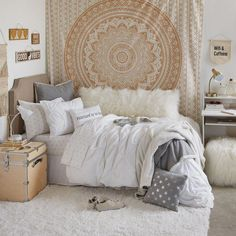 The perfect dorm room doesn't exis-. 😍😮 Tag a friend who needs some dorm room inspo! Dorm Room Bedding, Dorm Room Walls, Cute Dorm Rooms, Bedding Sets, Queen Bedding, Beige Bedding, Dorm Comforters, Dorm Pillows, King Comforter