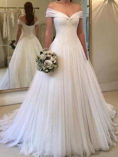 cc04d1f68a7 A-Line Off the Shoulder Pleats Wedding Dress 2019. Beautiful Wedding GownsFairytale  ...