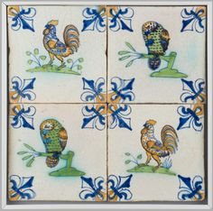 ¤ Dutch Tile Panel: Parrots and Roosters. Netherlands, Europe Date: 1625-1650 Tin-glazed earthenware with polychrome decoration. Dimensions: 10 1/2 x 10 1/2 inches (26.7 x 26.7 cm)