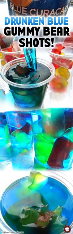 Drunken Blue Curacao Gummy Bear Shots! These shots look like gummy bears swimming in an island paradise. So chill.. so delicious.