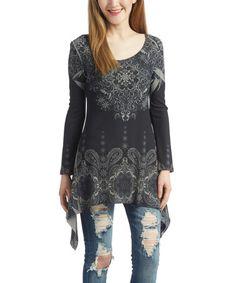Look at this #zulilyfind! Black & Gray Paisley Sidetail Tunic #zulilyfinds