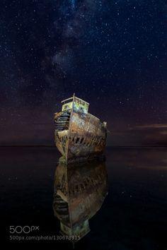 Ghost Ship III by brodieknox black canon darkness light light painting motueka new zealand night sea shipwreck stars water Ghost