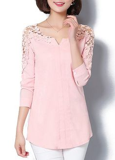 Split Neck Lace Panel Long Sleeve Curved Blouse - Trend Way Dress Stylish Tops For Girls, Trendy Tops For Women, Blouses For Women, Shirt Bluse, Tunic Blouse, Tunic Tops, Red Blouses, Fashion Outfits, Womens Fashion