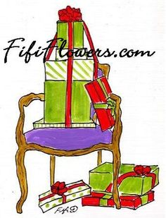 Chair with Packages by Fifi Flowers