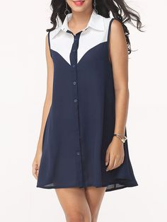 Assorted Color Captivating Button Down Collar Shift-dress #Dresses, #Fashion, #ShiftDresses, #Womens