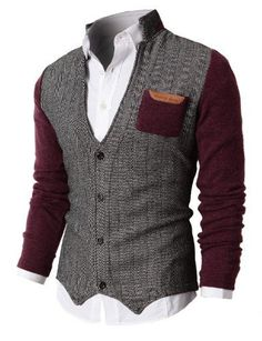 H2H Mens Herringbone Cardigan Sweater Of Knitted Sleeves