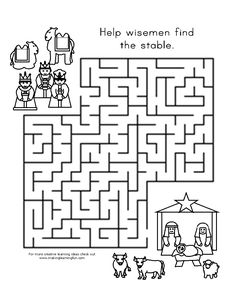 Children's activity and craft templates. Christmas Sunday School Lessons, Sunday School Activities, Bible Activities, Christmas Maze, Christmas Crafts For Kids, Christmas Nativity, Christmas Printables, Mazes For Kids, Bible For Kids