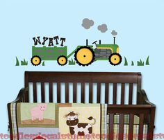 Green Tractor Farm Name Personalized Nursery by ToodlesDecalStudio