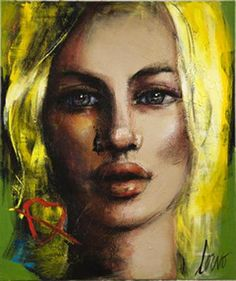 """Crystal-Plexiglass Print """"Face on Green with Red Heart""""(Large Format)"""
