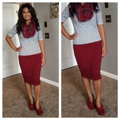 Skirt & Booties. Burgundy skirt, stripes, and plaid scarf. Modern Modesty. Fall Modest Outfit Ideas.