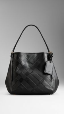 Small Embossed Check Leather Tote Bag