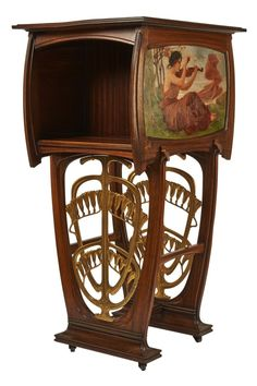 Gustave Serrurier-Bovy music cabinet. Side panel painted with woman violinist, base with strong Art Nouveau cast shape composed of zephyr lilies.