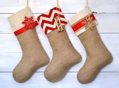 Burlap Stockings Set of 3  Red & Ivory Collection by TwentyEight12, $108.00