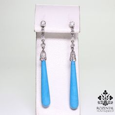 Antique Art Deco Platinum Diamond & Turquoise Earrings