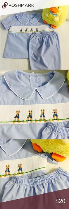 Castles & Crowns Boys Set! Castles & Crowns Set! Gorgeous 2 pc set! Short sleeve light blue/white gingham collared top with adorable smocked rabbits design across front. White piping around collar and sleeves, button closure all the down in back and lined in white cotton on front of top. Matching elastic waist shorts. Great outfit for Easter! Perfect, New Condition! Size 6 Castles & Crowns Matching Sets