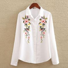 nvyou gou 2018 Floral Embroidered Blouse Shirt Women Slim White Tops Long Sleeve Blouses Woman Office Shirts plus size nvyou gou 2018 blusa bordada floral camisa mulheres slim branco tops l – noashe Embroidered Clothes, Embroidered Blouse, Collars For Women, Blouses For Women, Camisa Social Jeans, Chemises Country, Full Sleeves Design, The Office Shirts, Pretty Shirts