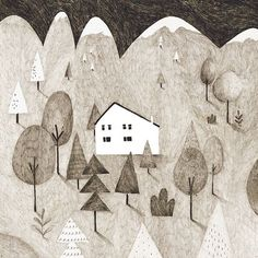 I want a home in the mountains! #Illustration by Kior Katzir.