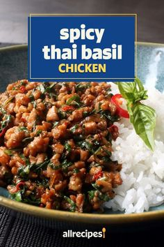 Spicy Recipes, Asian Recipes, Cooking Recipes, Healthy Recipes, Thai Basil Recipes, Keto Recipes, Thai Basil Chicken, Spicy Thai, Chicken