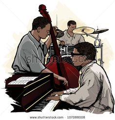 Photo composition for band - Vector illustration of a jazz band by isaxar, via ShutterStock