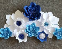 Paper flowers /customized baby shower backdrop/ decor/white and blue/its a boy/baby shower decor/bridal shower decor/christening/… Crepe Paper Flowers Tutorial, Tissue Flowers, Giant Paper Flowers, Diy Flowers, Paper Flower Decor, Large Paper Flowers, Paper Flower Backdrop, Flower Crafts, Backdrop Decorations