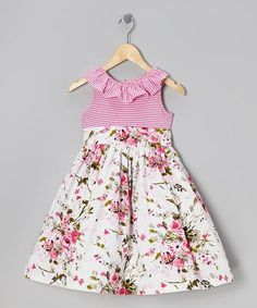 Take a look at this Pink & White Floral Stripe Ruffle Dress - Girls on zulily today! Little Dresses, Little Girl Dresses, Cute Dresses, Girls Dresses, Summer Dresses, Fashion Kids, Girl Dress Patterns, Baby Dress, Ruffle Dress