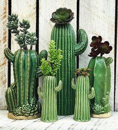 Succulents in their own ceramic cactus planter pots. Cactus Decor, Cactus Art, Cactus Flower, Flower Pots, Clay Flowers, Cactus Planta, Cactus Y Suculentas, Diy Garden, Garden Art