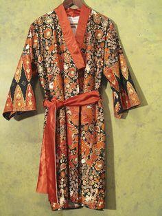 Yukata - Tageskimono - Orange Interiour fodder wild-silk (cream colour); innerpocket; belt