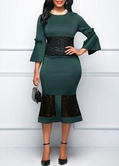 Dark Green Flare Sleeve Patchwork Dress on sale only US$34.90 now, buy cheap Dark Green Flare Sleeve Patchwork Dress at liligal.com