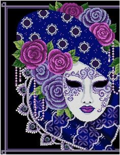 Mask of Mardi Gras  Purples & Periwinkles2 by CrossStitchRinna, $6.50
