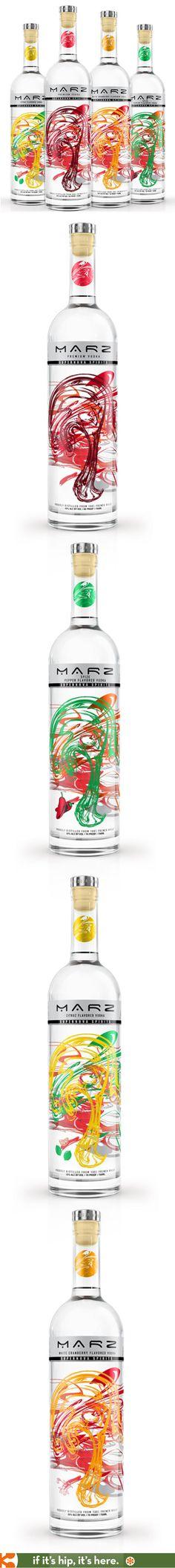 MARZ premium vodkas colorful bottle designs.