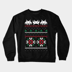 894c82135273eb Retro Space Video Game 8 bit Pixel Ugly Christmas Sweater by solarflare