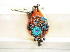vintage style antique bronze filigree Appliqué flower pendant necklace orange greay gray blue  Polymer Clay, handmade