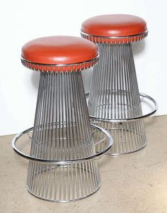 interior design   decoration   home decor   furniture   Cy Mann; Chromed Steel Bar Stools, c1965.