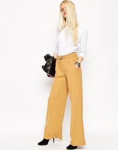 Image 1 ofASOS Wide Leg Trouser with Belt Detail