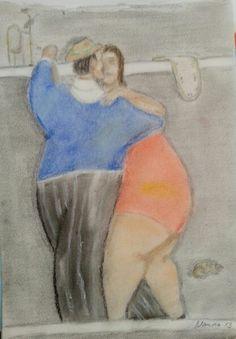 O tempo é relativo no tango de Botero - pastel seco