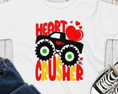 Boys Valentine's Shirt Heart Crusher. Kids Party Works Valentines For Boys, Valentines Day Party, Dinosaur Birthday Party, 3 Kids, Party Shop, Goodie Bags, Party Printables, How To Memorize Things, Party Ideas