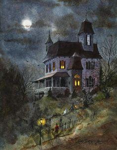 Nine Spooks, Halloween haunted house painting Retro Halloween, Casa Halloween, Halloween Haunted Houses, Halloween Prints, Halloween Pictures, Holidays Halloween, Happy Halloween, Halloween Decorations, Halloween Gourds