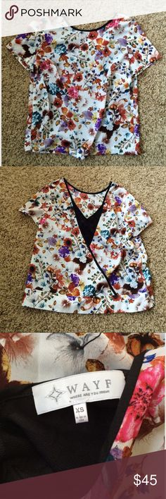 """Wayne Floral Blouse Very cute with unique back. Great condition except for scratch in last pic. Length 21"""", chest flat 17"""". Wayne Tops Blouses"""