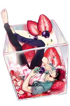 Kagami Taiga and strawberries ❤ ❤ ❤ ❤ ❤  The rassberry boy...