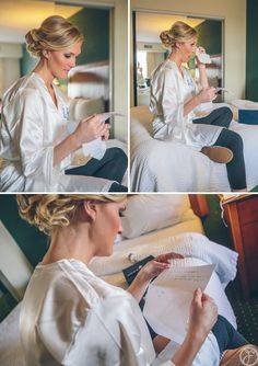 bride reading letter from groom in hotel suite, st louis wedding photographers