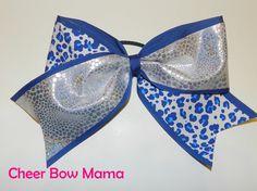 Silver and Blue Cheetah Cheer Bow by Cheer Bow Mama