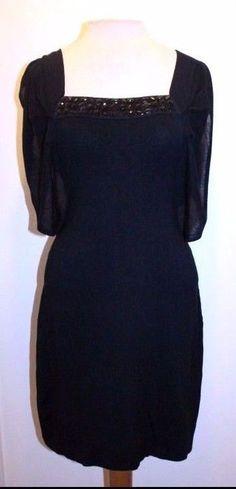 Yoana Baraschi Anthropologie L Black Jewel Neck Flutter Sleeve Bodycon Dress #Anthropologie #SweaterDress #Cocktail