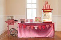 Boy's Superhero Milk Bar Party Popcorn and Cotton Candy Table Ideas