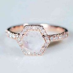 Octagonal diamond cut with rose gold |