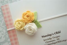 Felt Flower Headband in White and Yellow Roses - Baby Headbands to Adult. $6.95, via Etsy.