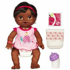 Baby Alive Wets And Wiggles - African American by Hasbro. $38.88. Set comes with doll, bottle, packet of juice mix, 2 diapers and dress.. She kicks and giggles when you play with her.. Adorable baby doll drinks from her bottle and then lets you change her wet diaper!. Your WETS ?N WIGGLES doll is hungry and she needs you to feed her! Mix up her juice and watch her drink from her bottle ? but don?t forget to change her diaper.. When she is happy and dry again, squeeze he...