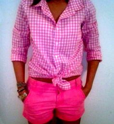 Hot pink shorts and pink gingham button down - casual perfection! (I'd wear some hot pink pants instead... if I could find any that I can wear!)